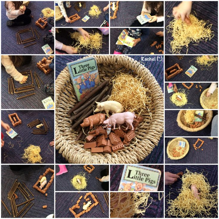 """Using props to retell The Three Little Pigs - from Rachel ("""",)"""