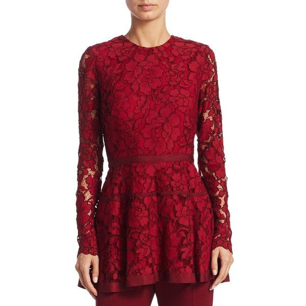 Lela Rose Floral Peplum Top (21.655 CZK) ❤ liked on Polyvore featuring tops, long sleeve lace peplum top, floral lace peplum top, red peplum top, long sleeve tops and long-sleeve peplum tops