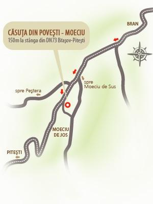 Harta localizare Pensiunea Casuta din Povesti - Moeciu, Bran