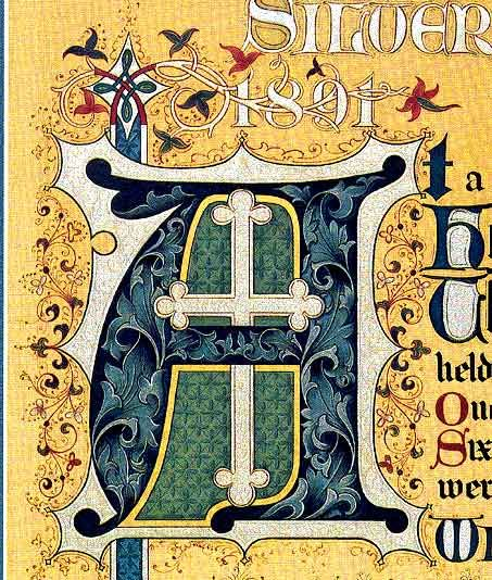 """Illuminated 'A' by the Dennis and Baird studio, Brooklyn NY. Detail from an """"engrossed"""" (hand-penned) 1916 Silver Jubilee Certificate"""
