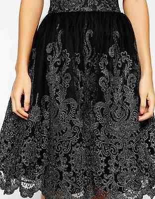 CHI CHI LONDON PREMIUM METALLIC LACE FULL MIDI SKIRT SIZE UK8/EUR36/US4