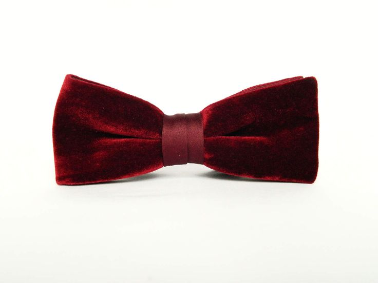 Velvet burgundy bow tie Pre-tied bow tie gift for men burgundy wedding bow tie groomsmen by TheStyleHubTrends on Etsy