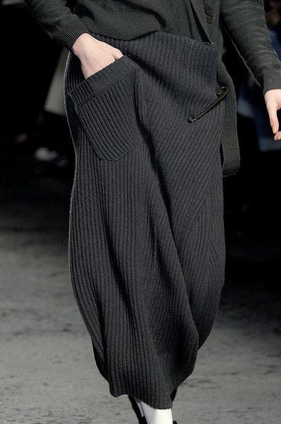 Slouchy knitted skirt with oversized safety pin & angled pocket detail // Sonia Rykiel