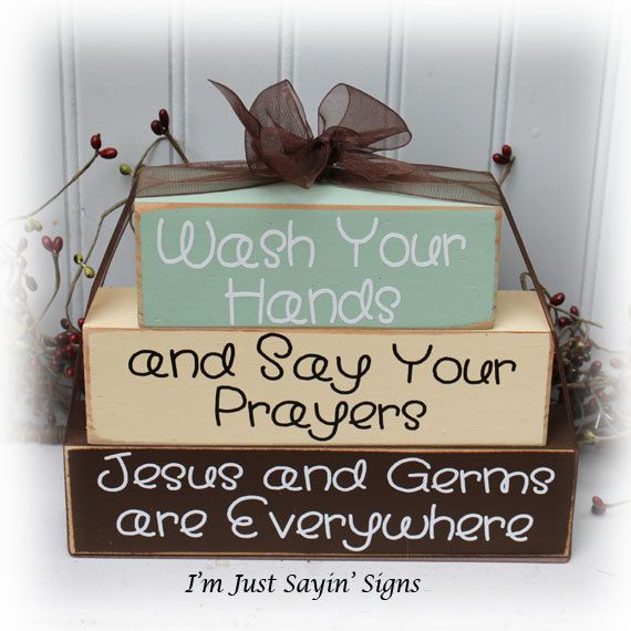 Wash Your Hands And Say Your Prayers Wood Stacking Blocks on Etsy, $17.95