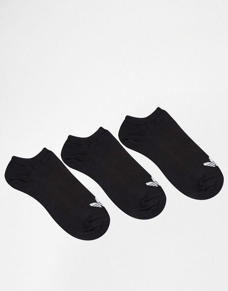 ADIDAS ORIGINALS ADIDAS ORIGINALS 3 PACK BLACK TREFOIL LINER SOCKS - BLACK. #adidasoriginals #cloth #