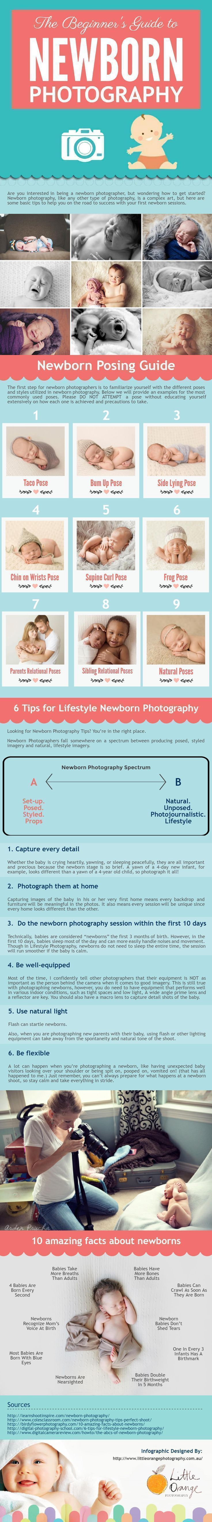 If you're new to photography, check out this infographic for newborn photography ideas, the beginner's guide to newborn photography. The first step for new born photographers is to familiarize yourself with the different poses and styles utilized in newborn photography. Also, tips for lifestyle newborn photography, facts about newborns… etc. #newbornphotography