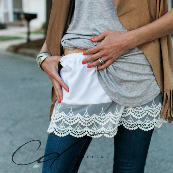 Slip on shirt extender to add length and lace detail to the bottom of any shirt.