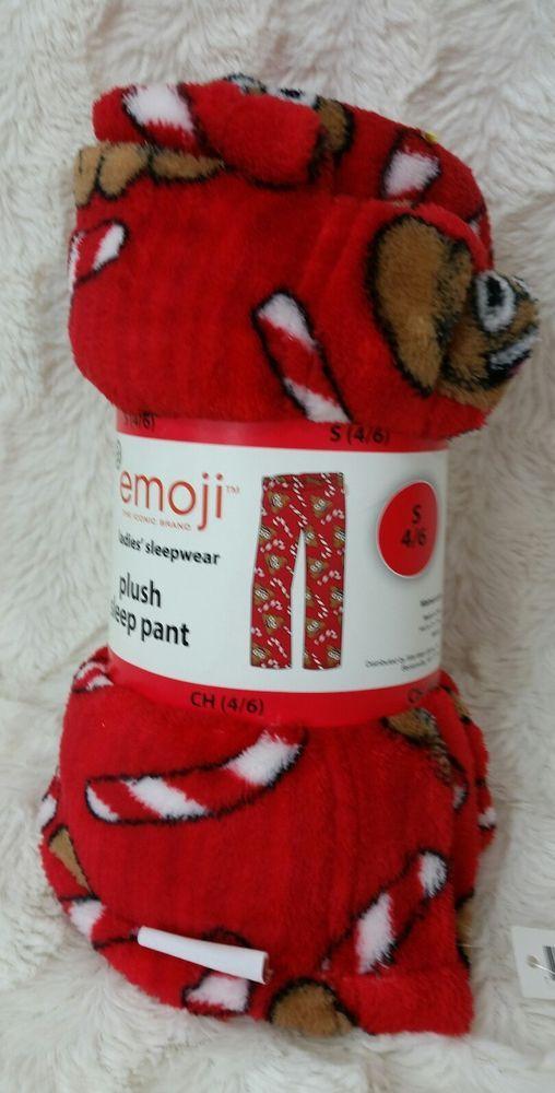 Emoji poop Christmas candy canes red fleece pajamas pants womens Small 4-6 #Emoji #LoungePantsSleepShorts