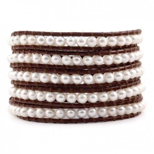 Chan Luu Brown Leather & Freshwater Pearl Wrap Bracelet