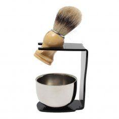 #Banggood 3 в 1 мужской набор для бритья капельного щетка подставка  барсук волос щеткой  нержавеющая сталь чаша кружка (1040449) #SuperDeals
