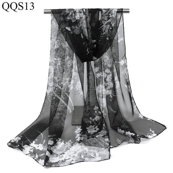"""Fashion Women's 100% Silk Black &White """"Floral"""" Print Scarf Wrap Shawl Stole"""
