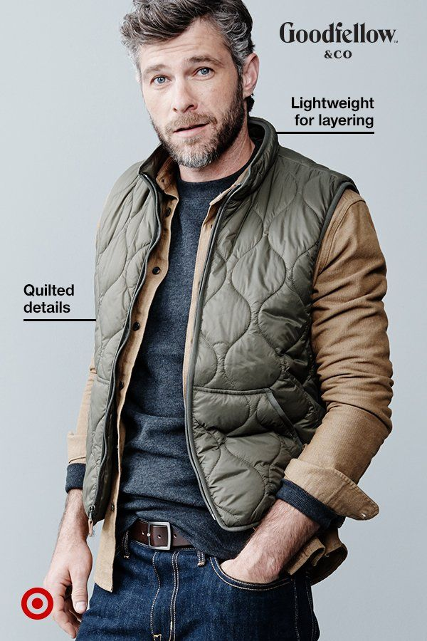 The key to cool-weather dressing is layering, and what better way to stylishly layer than with a lightweight vest? Far from bulky, this Goodfellow & Co quilted vest is easy to put on over whatever you're wearing and it'll keep you comfortably warm. Pop it over any shirt, sweatshirt or sweater and you're set.