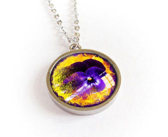 Pansy necklace, flower pendant, mat silver cabochon picture medallion, purple…