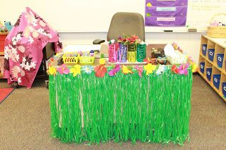What a fun teacher desk! Perfect for a beach themed classroom!