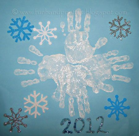 Kids Handprint Snowflake Craft