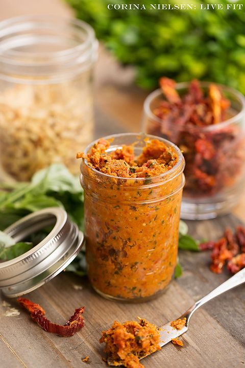"Clean Eating & Flexible Dieting (IIFYM): Sun Dried Tomato Pesto!  A  ""skinny"" version of traditional pesto that can be used as a spread for sandwiches or a sauce on pasta dishes!  A lower calorie, lower fat, and delicious sauce!"