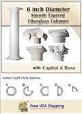 6 inch Smooth TAPERED Fiberglass Columns