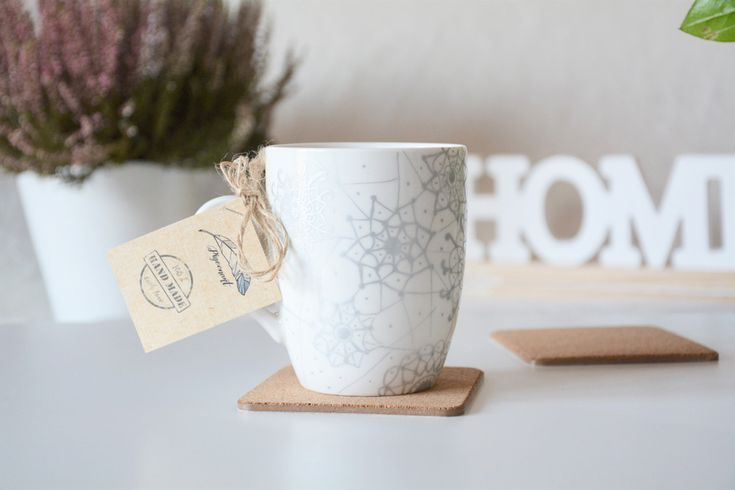 Elegancki kubek ze srebrną koronką - PigeonartHandmade - Kubki i filiżanki