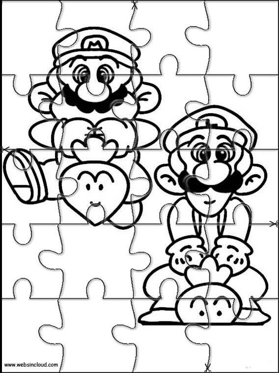 Printable jigsaw puzzles to cut out for kids Mario Bros 24
