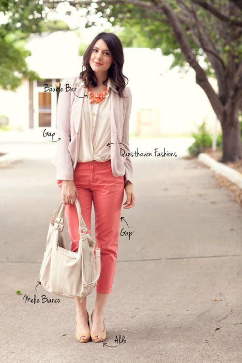 coral statement necklace, love the way the shirt is tucked