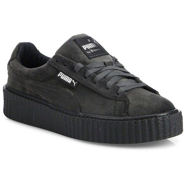 PUMA Men's Fenty By Rihanna Velvet Sneakers - Grey ($160) ❤ liked on Polyvore featuring men's fashion, men's shoes, men's sneakers, apparel & accessories, grey, mens lace up shoes, mens creeper shoes, mens gray dress shoes, puma mens shoes and mens platform shoes