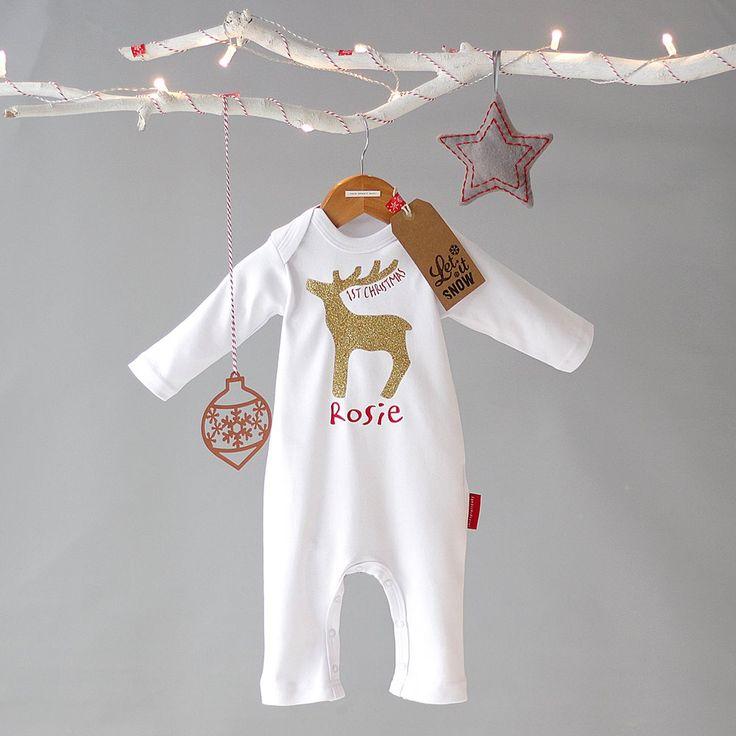 Rudolf First Christmas Romper in stunning Gold Glitz on 100% Pure White Cotton.