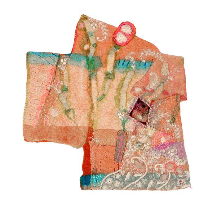 """Hideout"" felting, embroidery by Marijke Leertouwer"