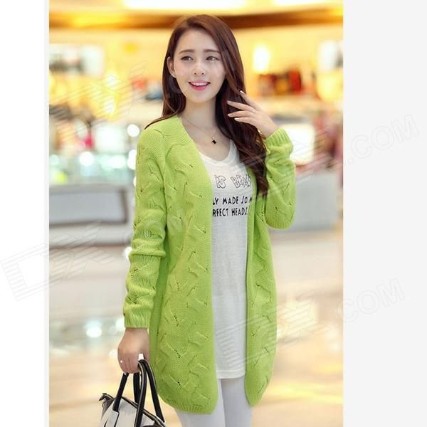 Fashion Wool Cardigan for Women - Fluorescent Green (Free Size)
