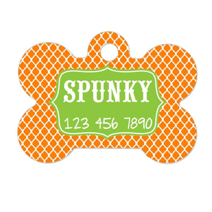 Personalized Dog Name Tag - Dog ID Tag - Custom Dog Collar Tag - Dog Tag Tangerine Lime Green Clover Pattern