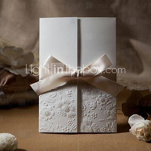 Vintage Embossed Tri-fold Wedding Invitation With Ribbon Bow / http://www.lightinthebox.com/Embossed-Flora-Invitation-with-Ivory-Bow--set-of-50-_p194431.html