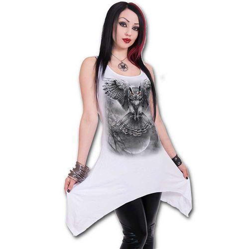 Wings Of Wisdom, gothic metal fantasy uilen korte jurk wit