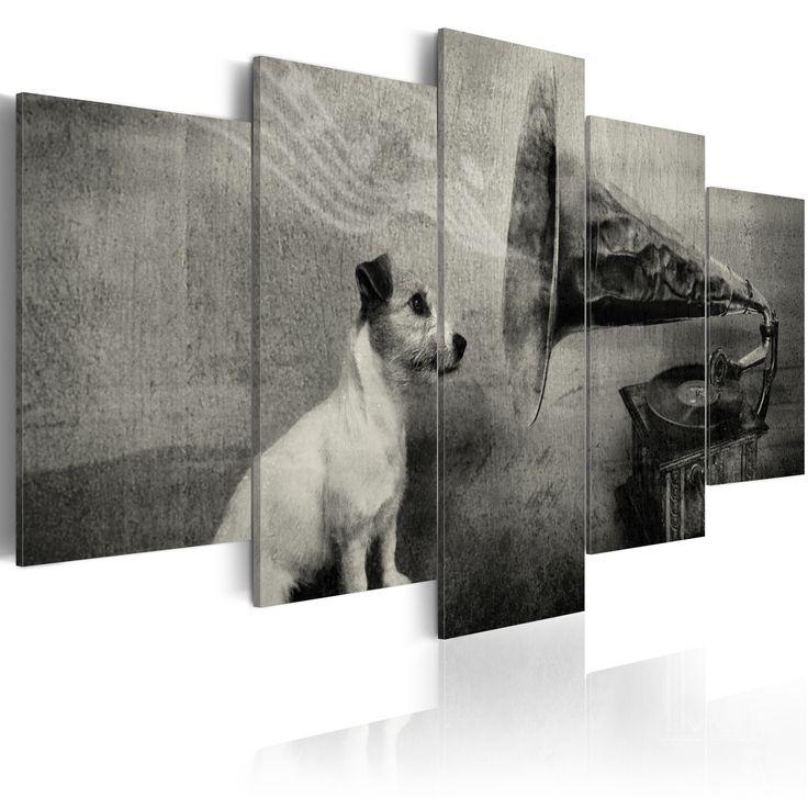 Obraz monochromatyczny #dog #gramofon #art #picture #design #aranżacja #music