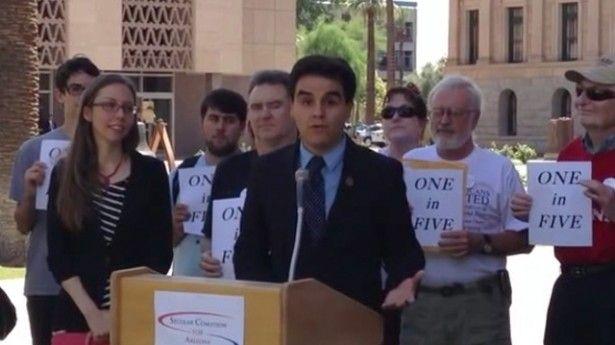 Arizona Democratic state Representative Juan Mendez speaks at press conference