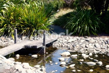 Japanese Style Bridge over Stoney Stream Royalty Free Stock Photo