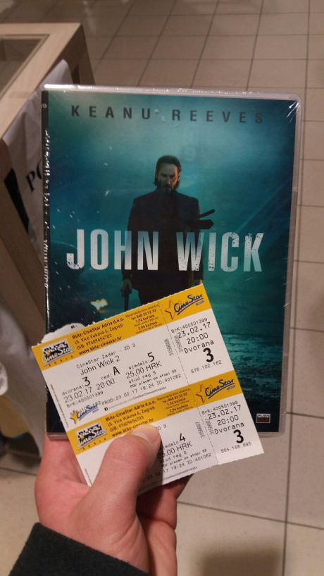 My local cinema handed us John Wick DVD as a present when we bought tickets for John Wick 2