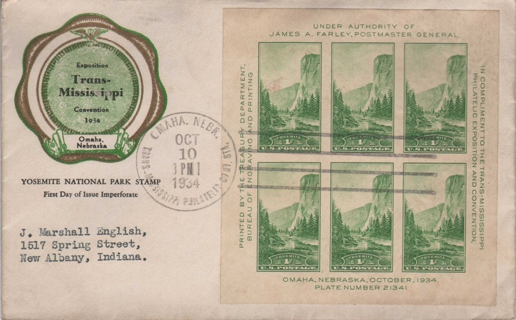 Yosemite National Park Stamp First Day of Issue Imperforate.