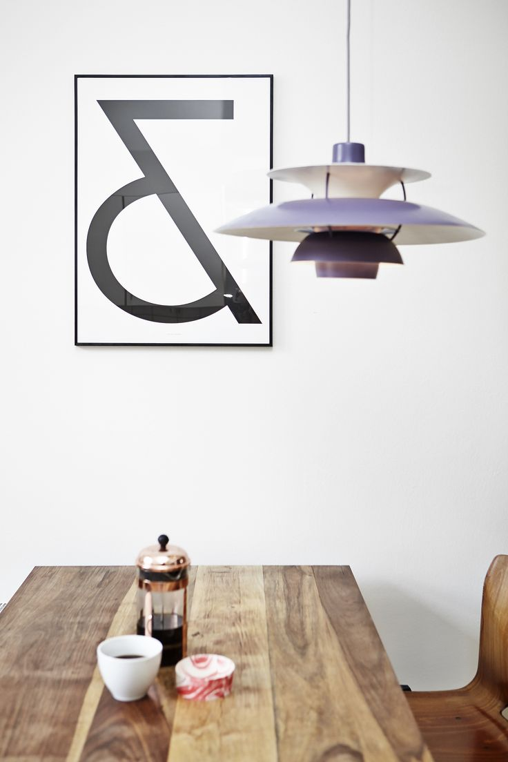 Kitchen - Rank Kitchen Table (prototype) - PH5 Lamp by Poul Henningsen - Bowl by Danish designer Troels Flensted - Poster by Roon & Rahn