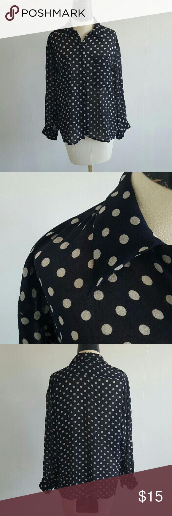 HARVEY NICHOLS polka dot blouse This 100% silk button up blouse is rather sheer with an amazing drape to it.  Navy Blue with white polka dots. Harvey Nichols Tops Blouses