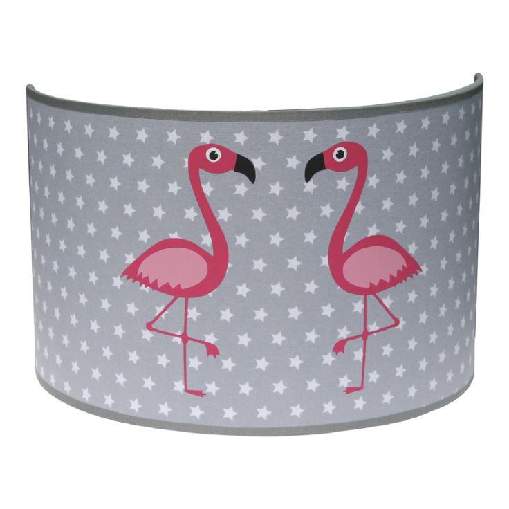 Wandlamp grijs met roze flamingo's kinderkamer babykamer meisje flamingo sterren ster