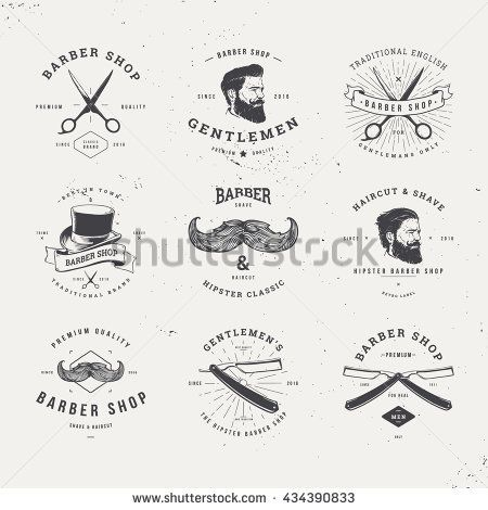 barber shop old fashioned logo set