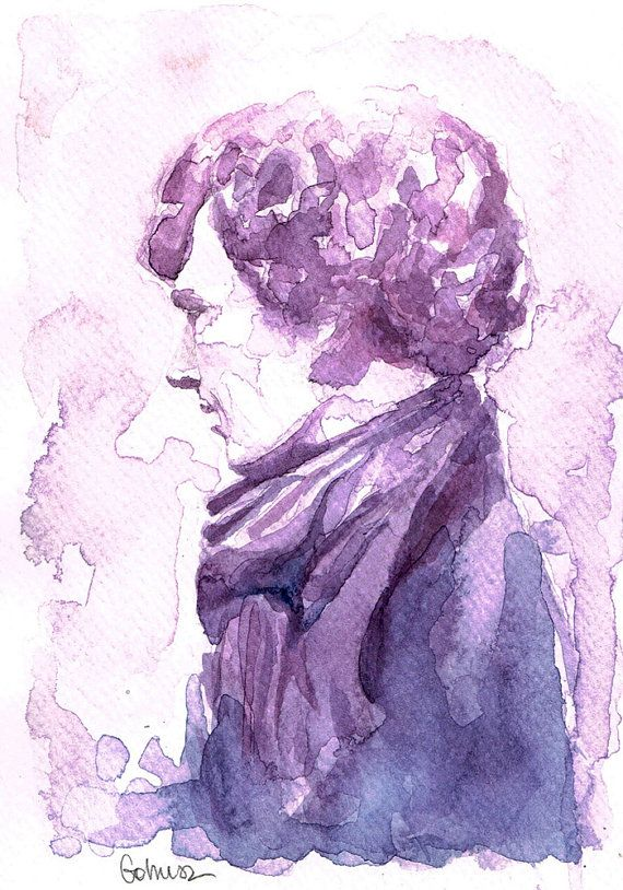 Sherlock Holmes BBC Sherlock watercolor print 5'5 x by gohuszMade, $10.00