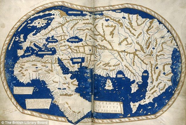 HENRICUS MARTELLUS WORLD MAP, c1490  It's said that Columbus used this map or one like it to persuade Ferdinand of Aragon and Isabella of Castile to support him in the early 1490s.   The map was made by a German cartographer living in Florence and reflects the latest theories about the form of the world and the most accurate ways of portraying it on a flat surface.