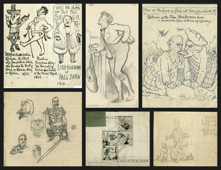A variety of sketches by G.K. Chesterton and illustrations for articles written by Chesterton. Going clockwise from the top left: some sketches for the Burnham Breed, a pencil sketch for The Club of Queer Trades, Men of the Land of Cakes, The Successful Man, Marriage and the Modern Mind by Jeffryes, and an untitled sketch in pencil.  G. K. Chesterton Collection; MS 1986-072, Box 1, Folders 29, 30, & 31; MS1986-012, Box 1, Folders 6, 7, 10; John J. Burns Library; Boston College.