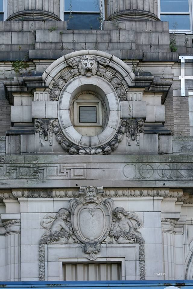 Some of the beautiful ornamentation on the old Cook County Hospital building, Chicago.
