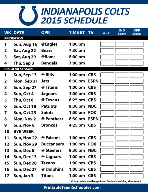 Indianapolis Colts 2015 Schedule. Printable version here: http://printableteamschedules.com/NFL/indianapoliscoltsschedule.php