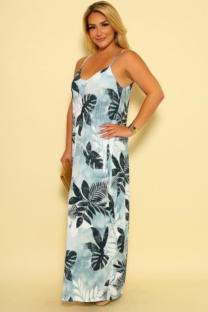 9c22d59ac50 Sexy White Grey Watercolor Leaf Print Sleeveless Plus Size Casual Maxi Dress