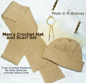 Man's Crocheted Hat and Scarf Set - Photo © Amy Solovay, Licensed to About.com, Inc.