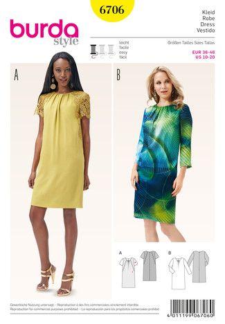 Schnittmuster: Kleid – runder Ausschnitt mit Kräuseln – Spitzenbesatz - Schnitte Katalog - burda style