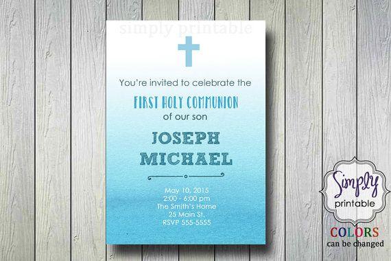 Blue Baptism/Communion Digital Invitation by simplyprintable