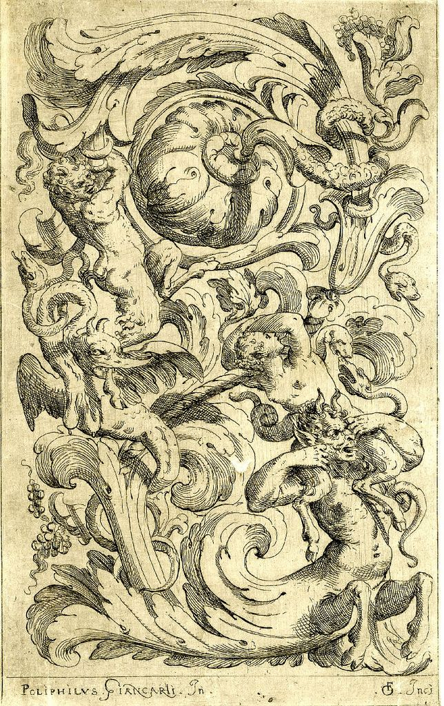 satyrs and absurd foliage ornament in grotesque 1620s etching